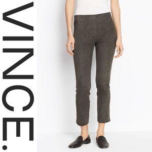 VINCE. • Stretch-Suede Split Hem Crop Pants • NWT